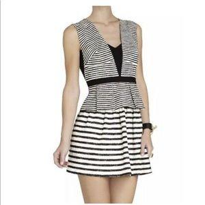 BCBG Piper Black and White Stripe Peplum Dress
